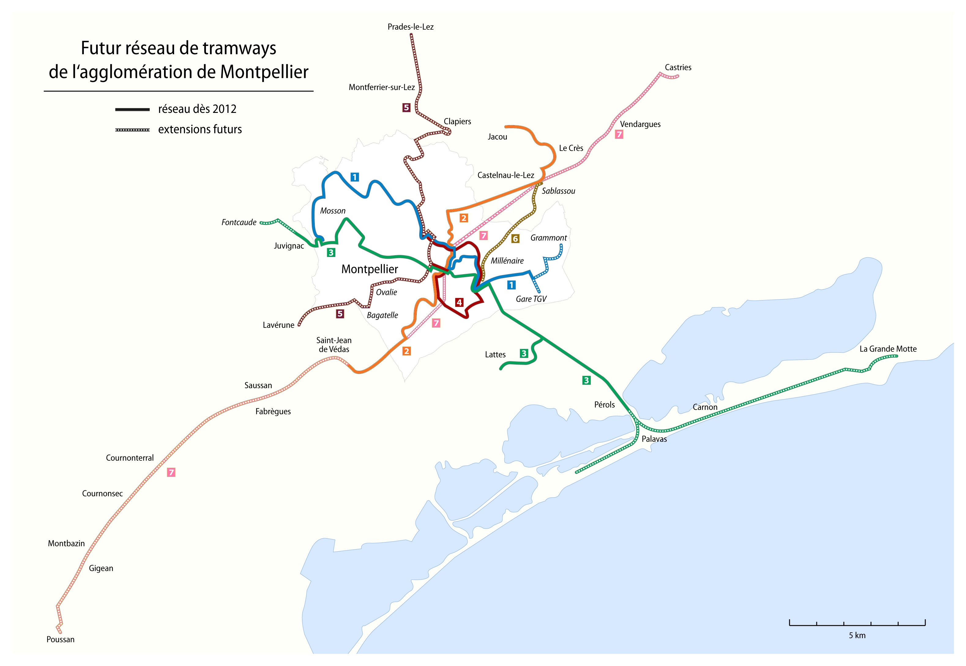 FileMontpellier Map of the future tramway network2png