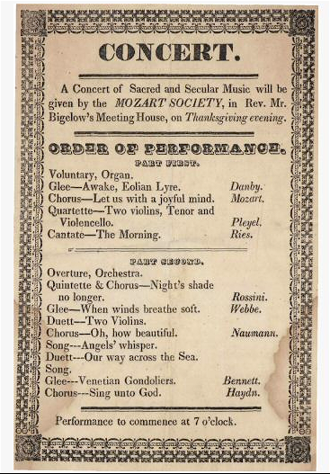 1836 Mozart Society Taunton Massachusetts