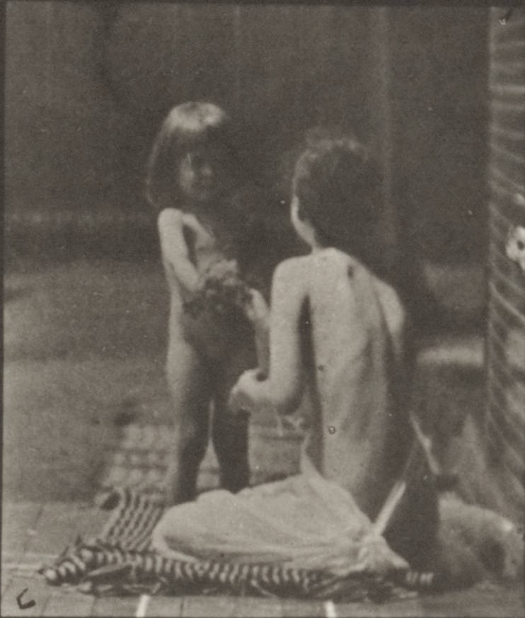 Nude child bringing a bouquet to a semi-nude woman (rbm-QP301M8-1887-466a~6).jpg English: Nude child bringing a bouquet to a semi-nude woman Nude child