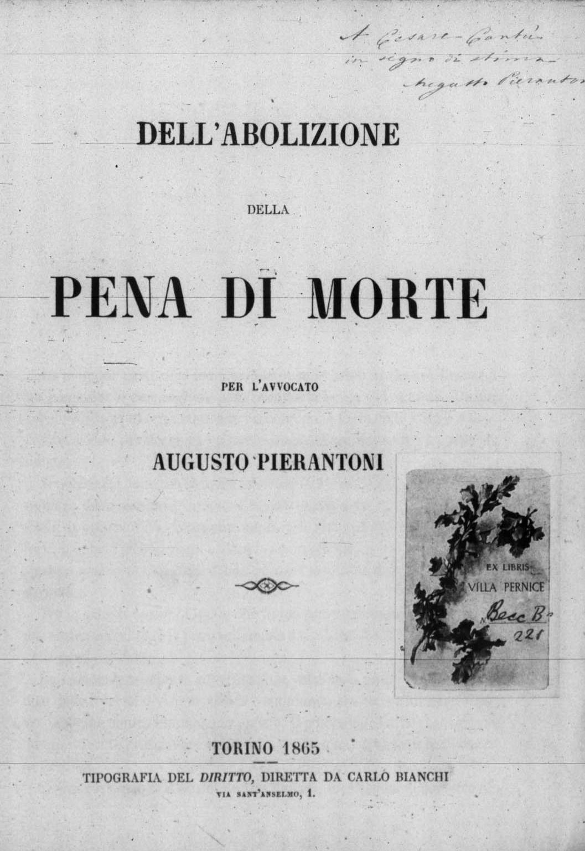 ''Dell'abolizione della pena di morte'', 1865