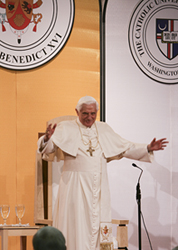 Pope Benedict XVI about to address the crowd in 2008