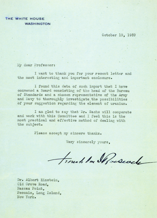 Roosevelt's answer to Einstein's letter