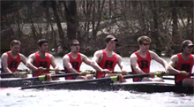 The Rutgers Men's Varsity Eight rowing on the Raritain River