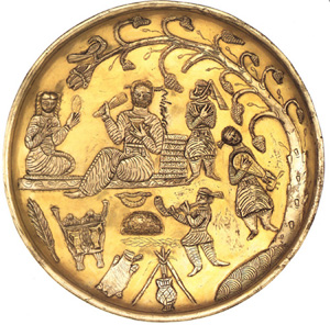 Ancient Iranians attached great importance to music and poetry. 7th century plate depicts Sassanid era musicians. The British Museum. Sassanid Music Plate 7thcentury.jpg