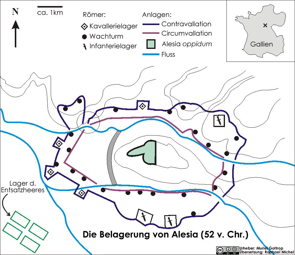 Vercingetorix wurde bei der Belagerung von Alesia von einem Ring eingeschlossen.
