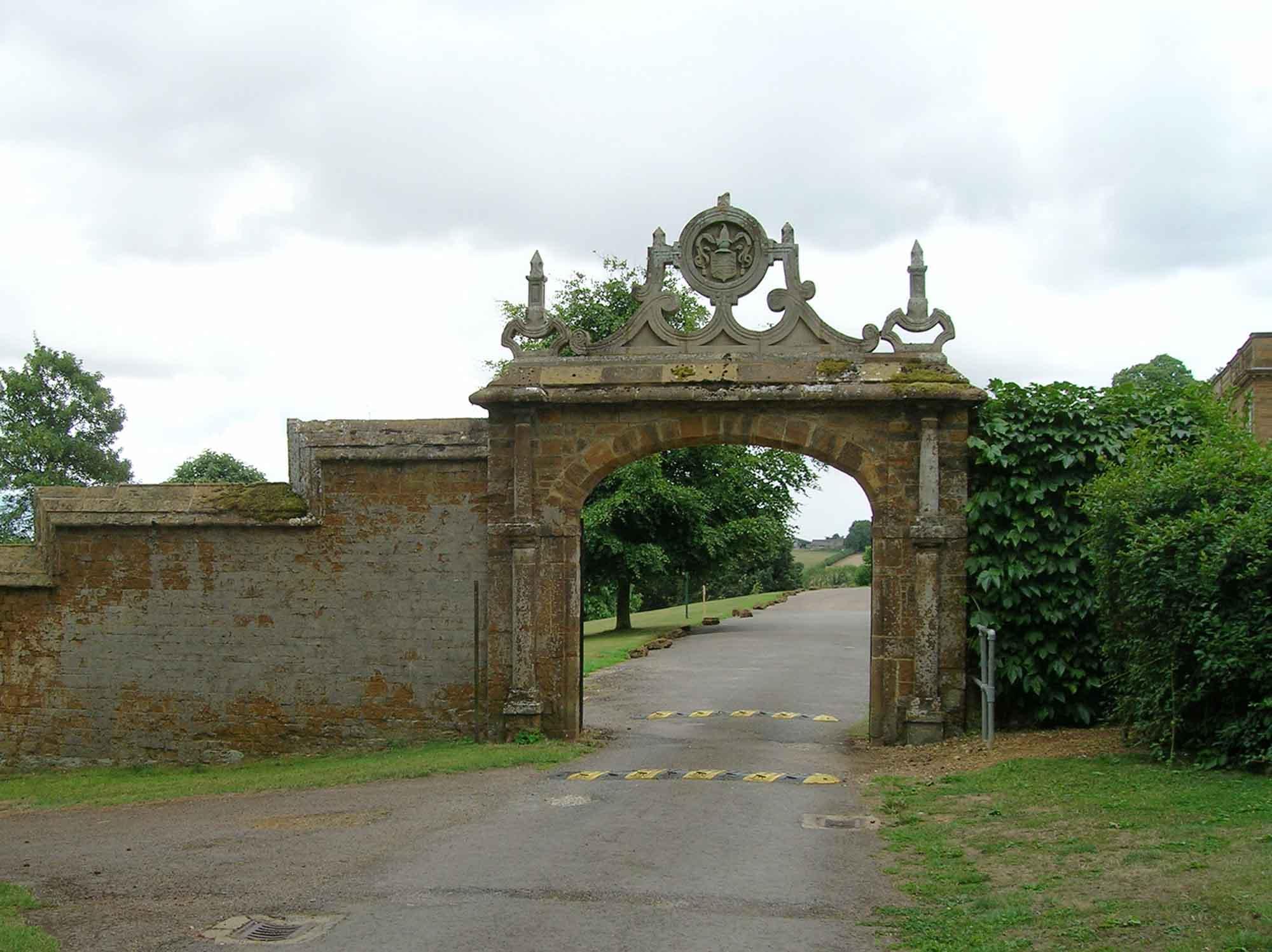 File:Stone arch on main driveway, Tudor Hall School-geograph