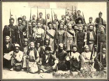 Persian Constitutional Revolution revolutionary fighters of Tabriz. The two men in the center are Sattar Khan and Bagher Khan