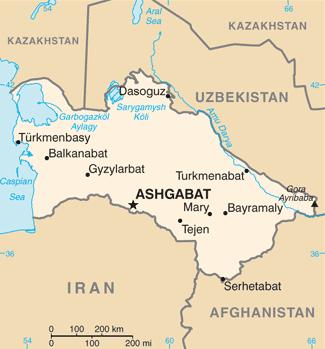 Abadan ligger 25 kilometer nordväst om Asjgabat