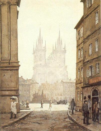 Eglise de Notre Dame de Tyn à Prague dans la brume du matin - Image de Tavik Frantisek Simon