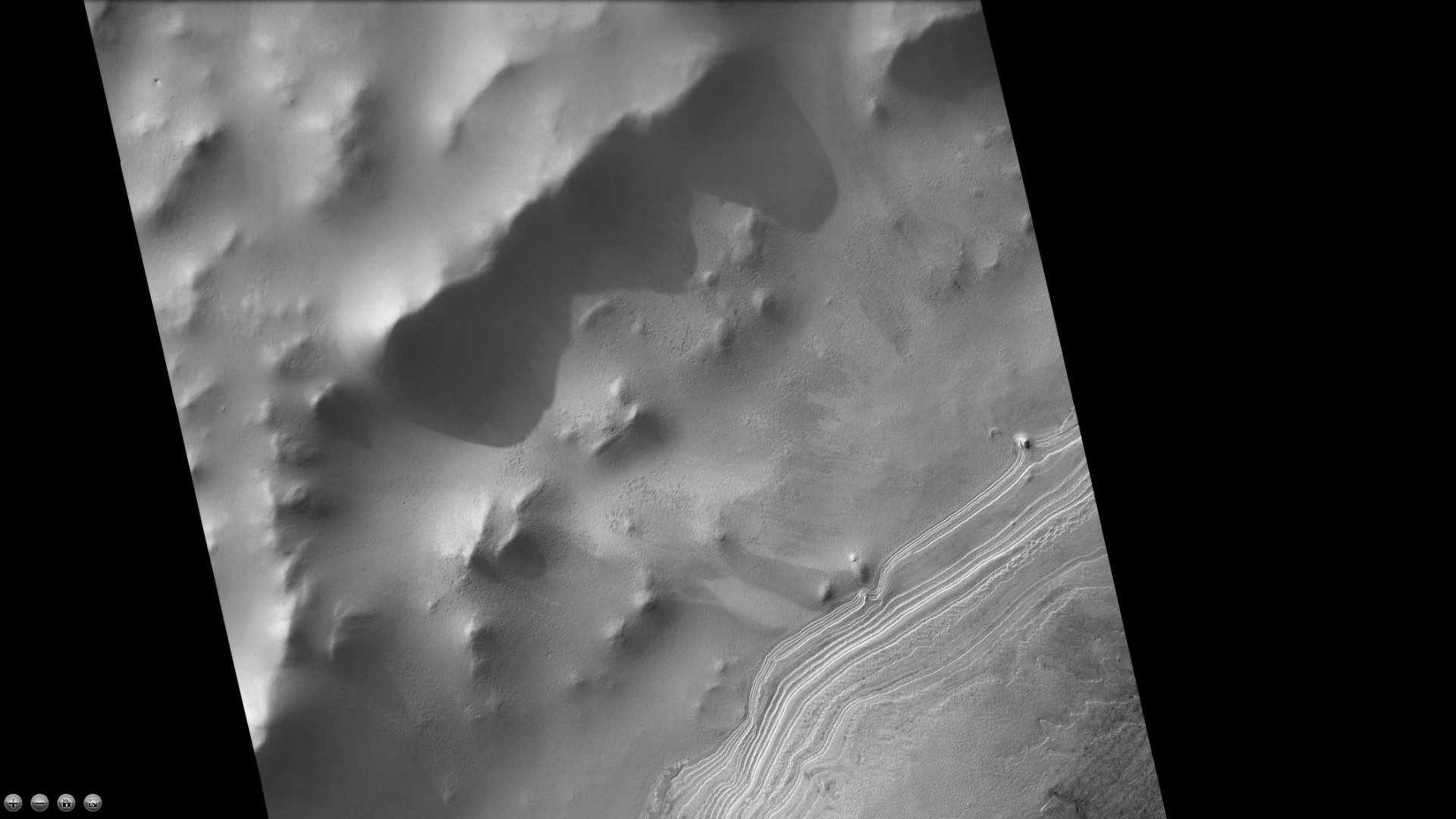 Layers in mound in western side of South crater, as seen by CTX camera (on Mars Reconnaissance Orbiter). Note: this is an enlargement of a previous image of west side of South crater.
