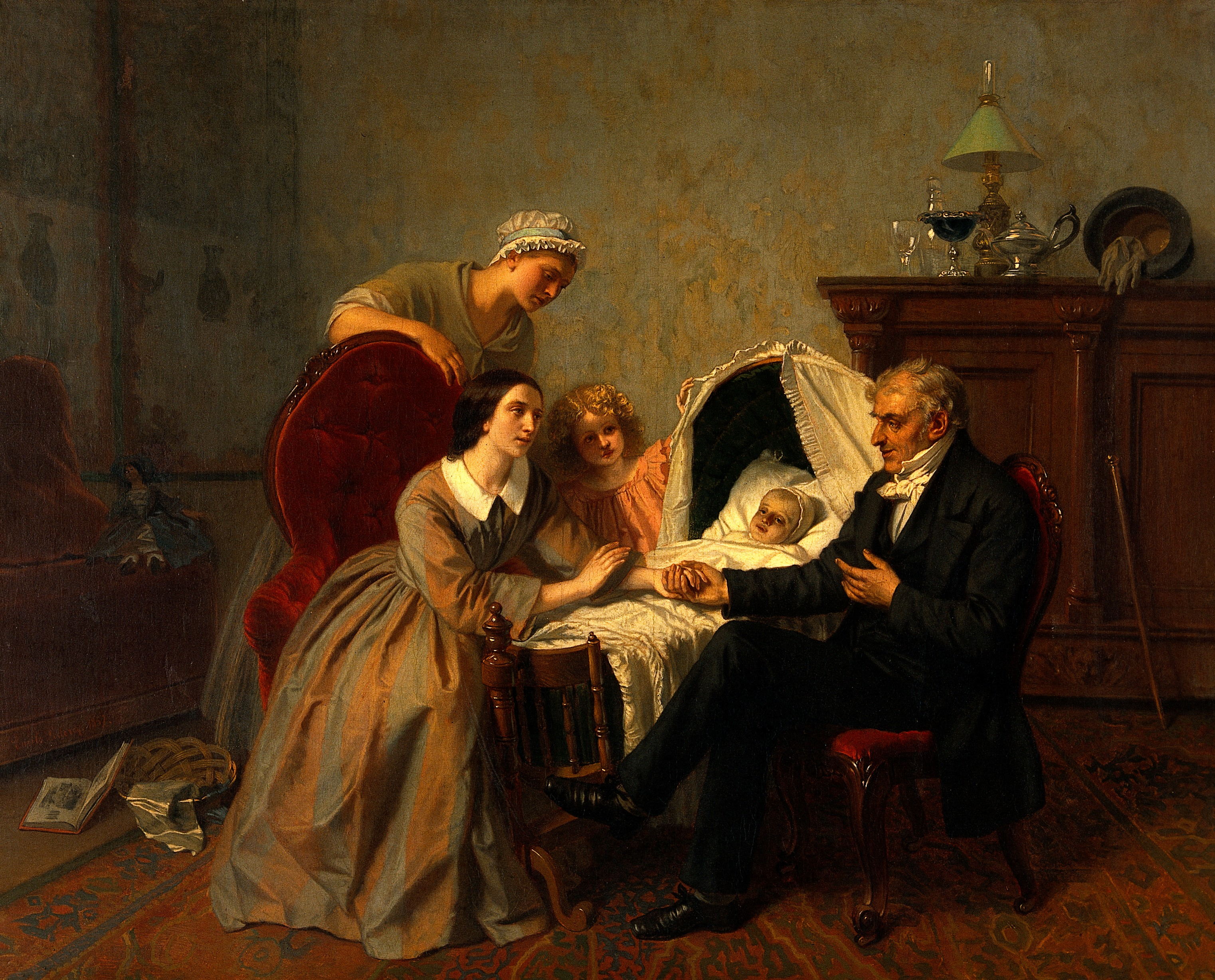 2 women, a young girl and an older gentleman are gathered around a cradle with a sick infant