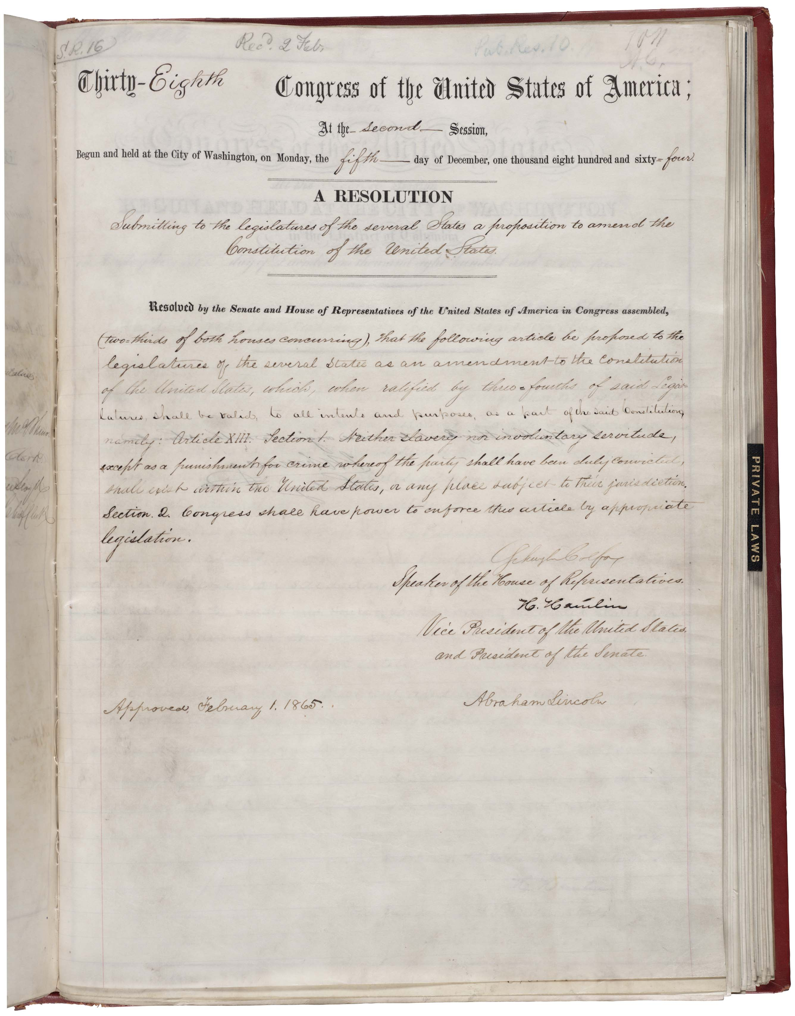 Abolition of Slavery in United States of America - December 6th 1865