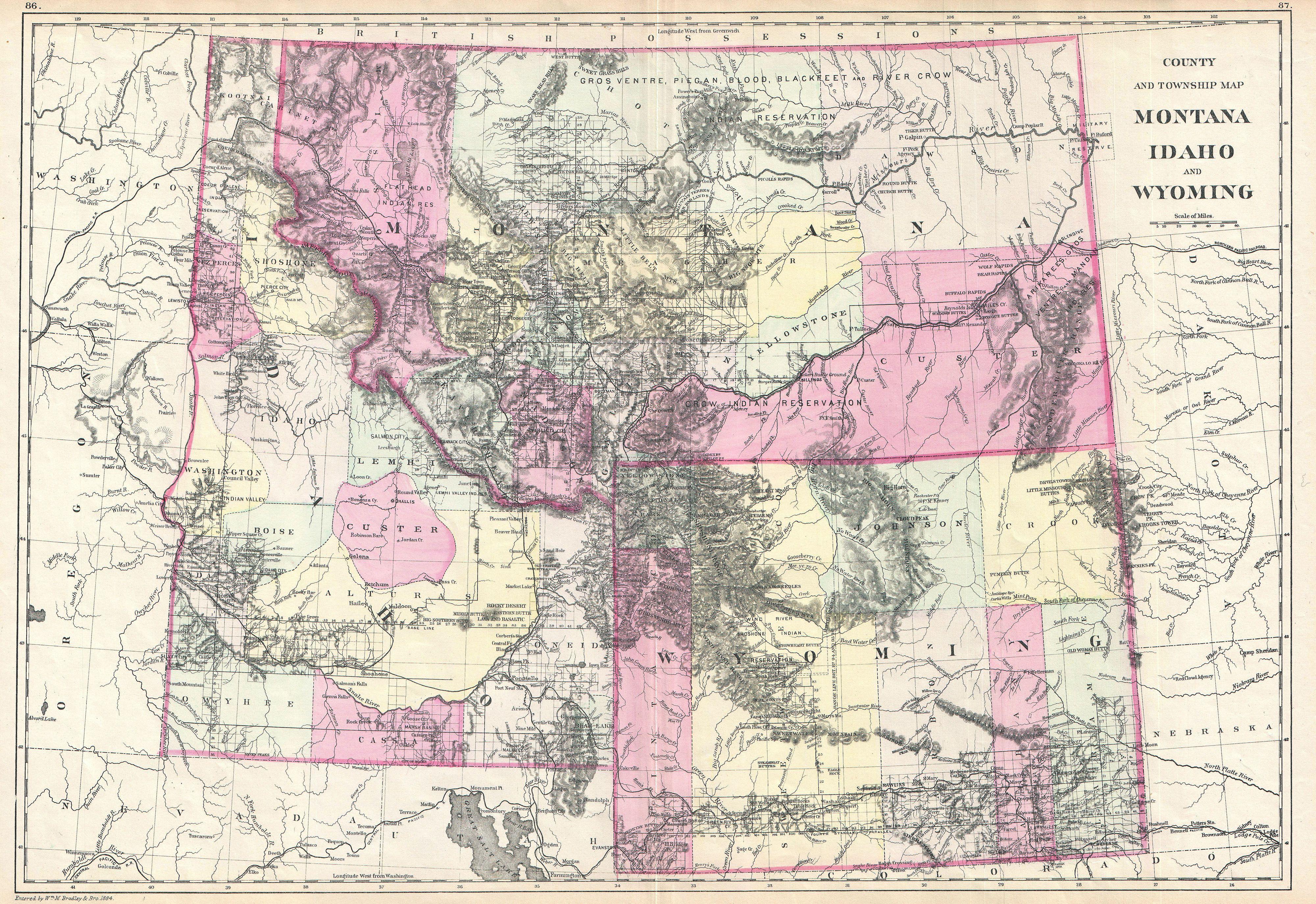 Map Of Idaho Montana And Wyoming