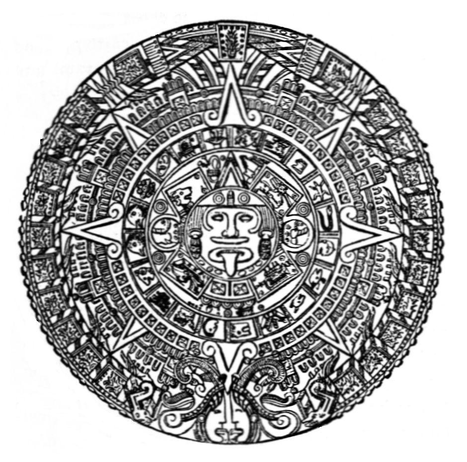 Aztec Calendar Drawing : File asom d aztec calendar stone g