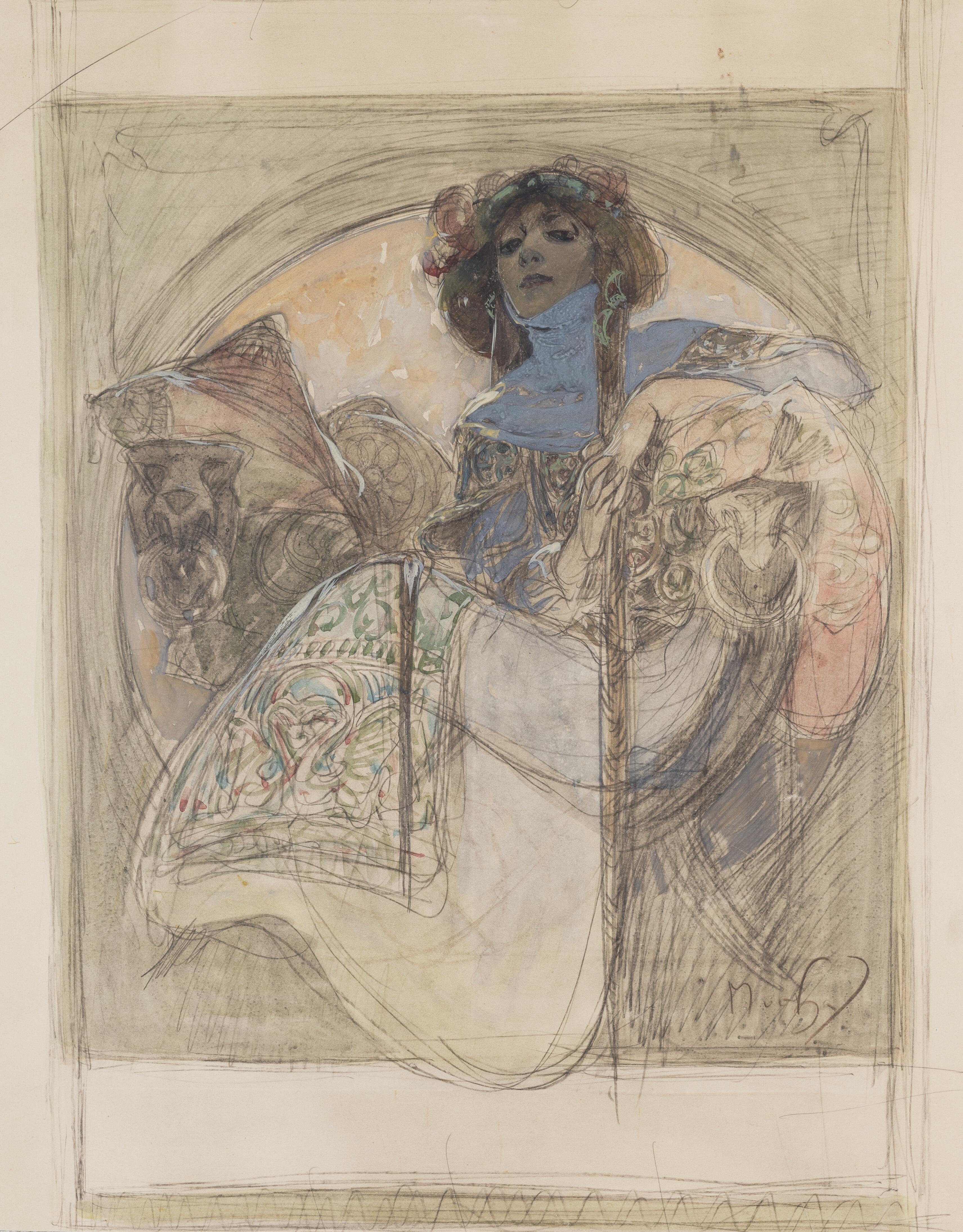 File Alfons Mucha Sedici Zena Studie K Plakatu 1897 Cerna