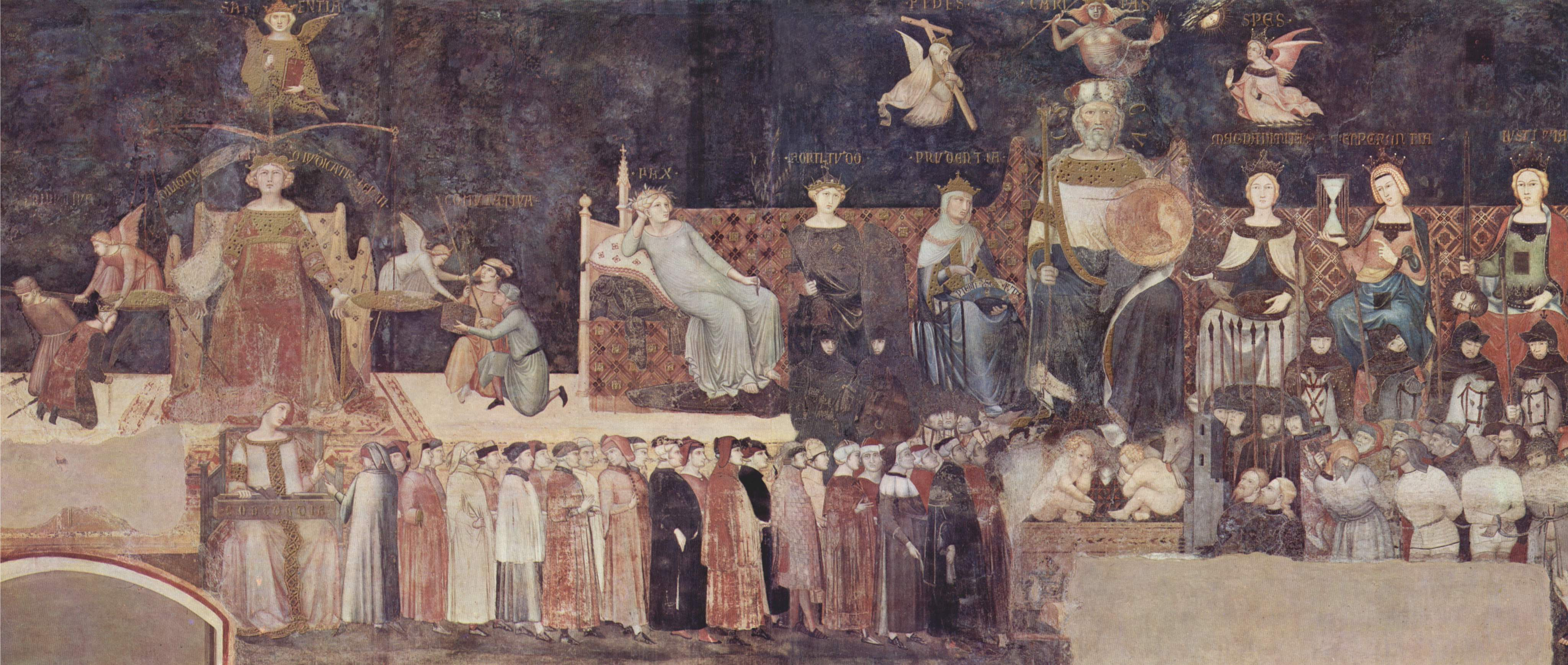 Sala Del Consiglio Dei Nove Siena.Allegoria Ed Effetti Del Buono E Del Cattivo Governo Wikipedia