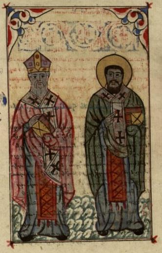 Athanasius (left) and his supporter Cyril of Alexandria. 17th century depiction. Athanasius and Cyril.jpg