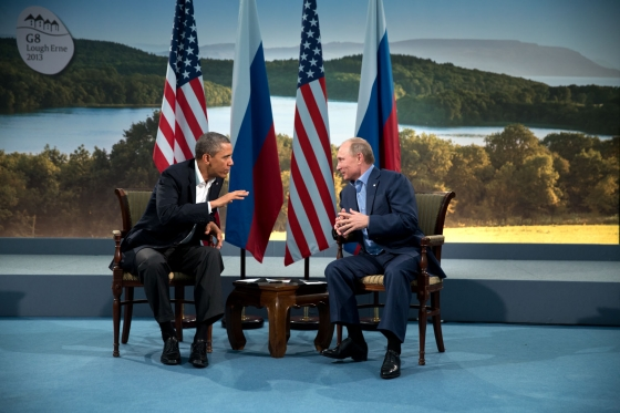 Barack Obama and Vladmir Putin at G8 summit, 2013