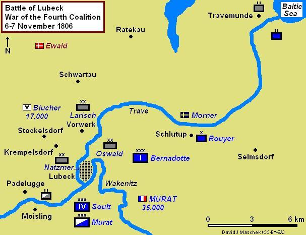 Map of the Battle of Lubeck on 6-7 November 1806, showing nearby towns Battle of Lubeck 1806.JPG