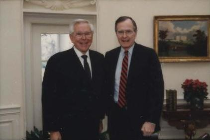 Schuller with President George H. W. Bush in 1991 Bush Contact Sheet P19684 (cropped).jpg