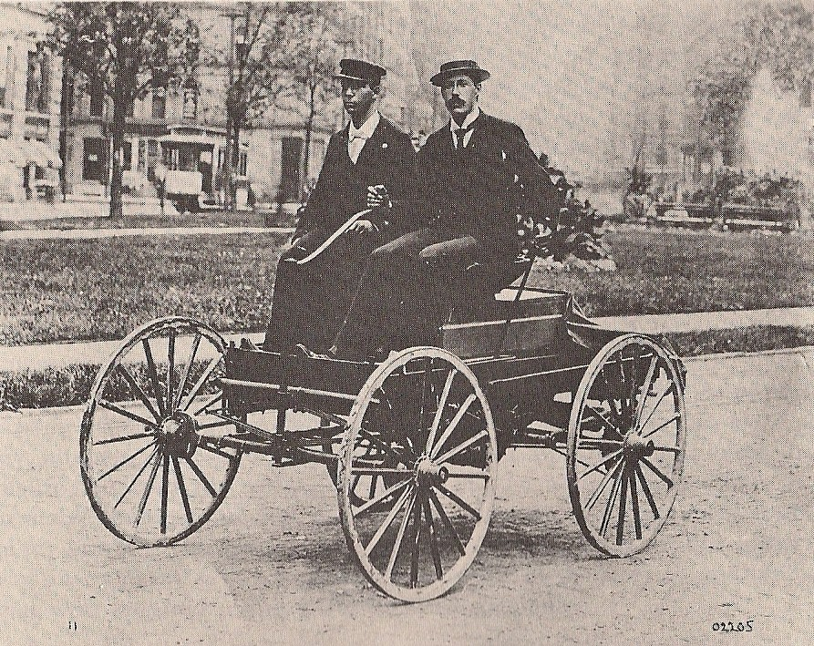 Charles Brady King demonstrates his car in Detroit on March 7, 1896