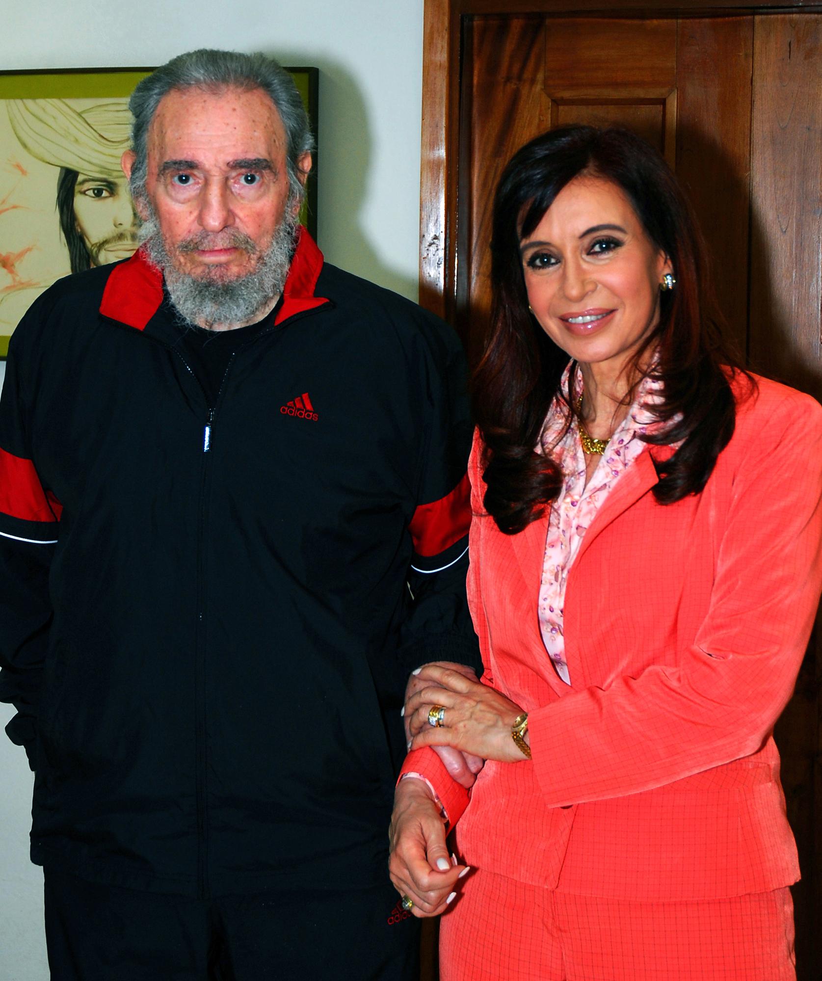 Castro junto a la presidenta de Argentina, Cristina Fernández de Kirchner, enero de 2009.