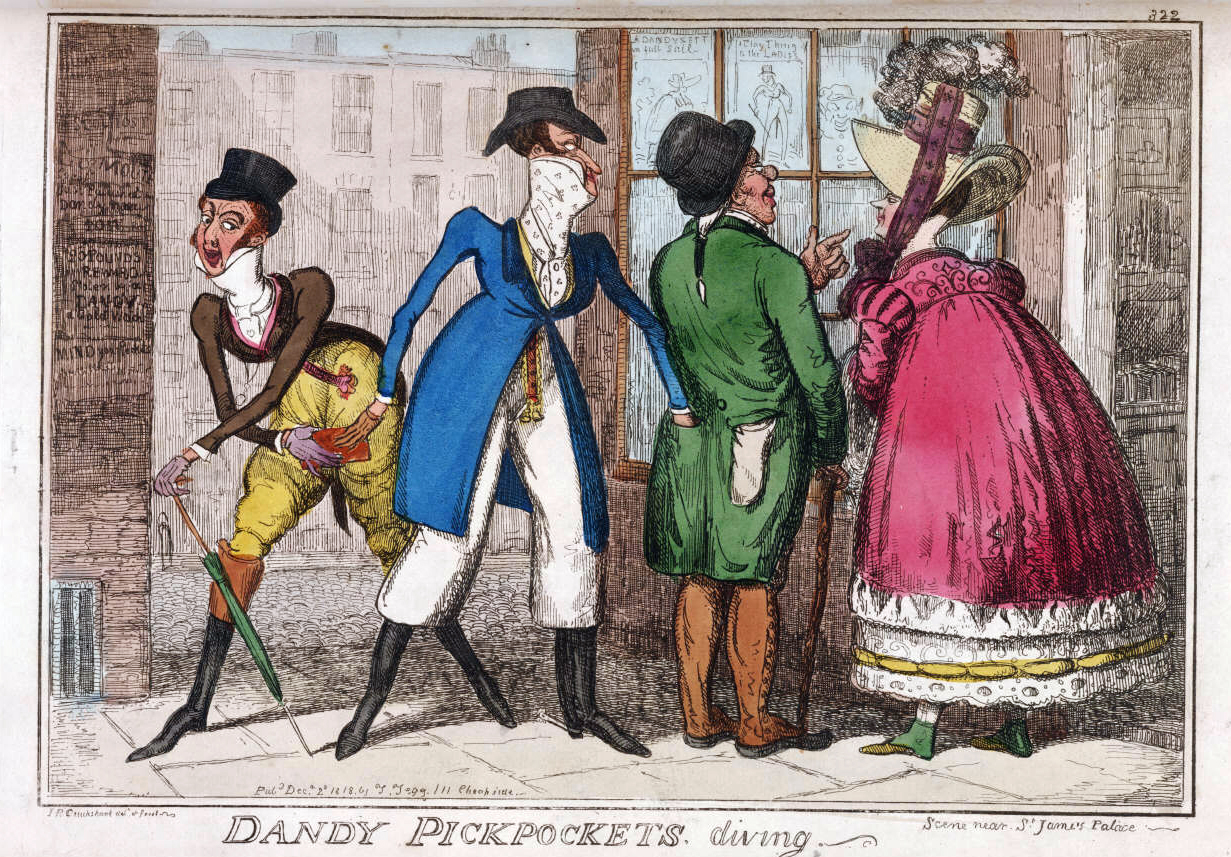 """""""DANDY PICKPOCKETS DIVING"""": Scene Near St. James Palace"""", published in ''The Caricature Magazine'', or ''Hudibrastic Mirror'', by G.M. Woodward"""