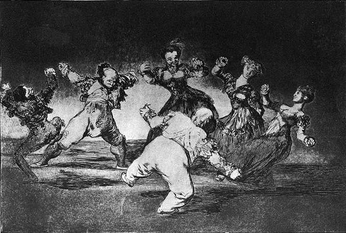 "Francisco de Goya (Spanish, 1746–1828). [Three Gentlemen and Three Ladies Dancing], plate 12 from the series ""Los Proverbios""/""Los Disparates"", 1815–1824. Aquatint engravings and etchings, with touches of drypoint and burnisher. (via Wikimedia Commons)"