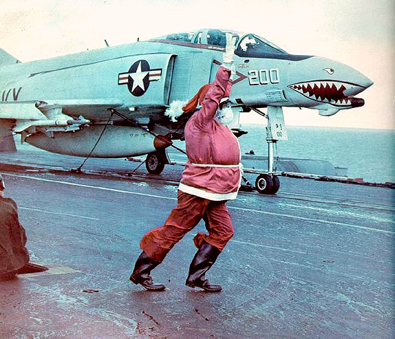 F-4B VF-111 CVA-43 Santa launch 1971