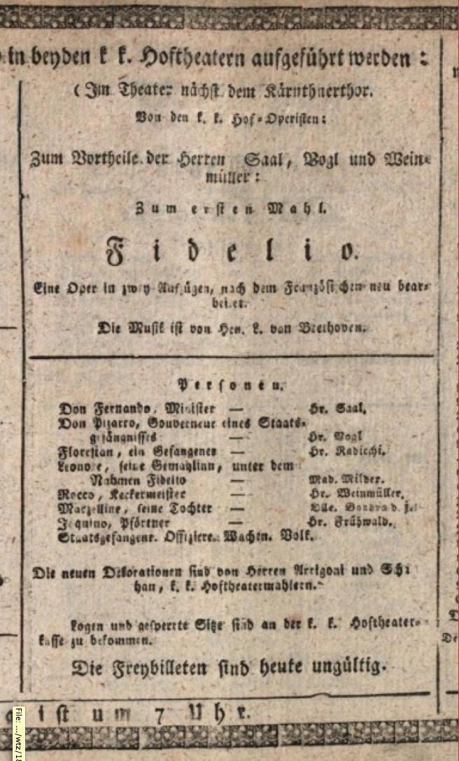 Anschlagzettel zur Uraufführung der dritten Fassung des Fidelio am 23. Mai 1814 im Kärntnertortheater