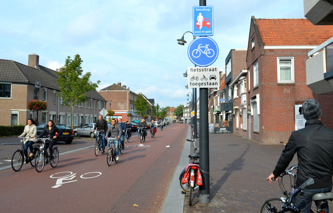 """A """"Fietsstraat"""": bicycles have priority over cars. Courtesy Wikimedia."""