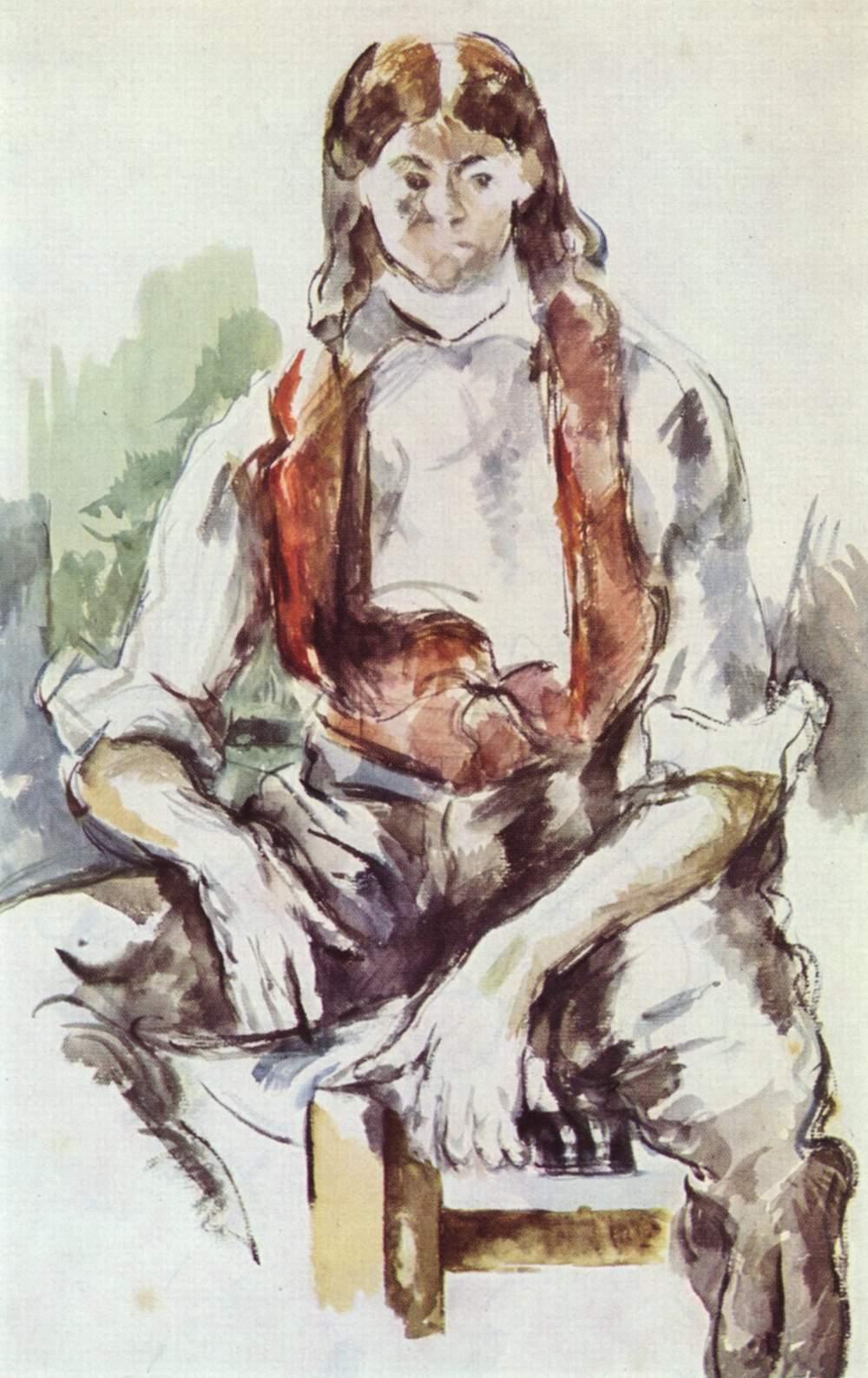 Garcon au gilet rouge, par Paul Cezanne, aquarelle, Yorck.jpg