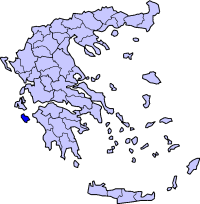Location of Zakynthos Prefecture in Greece