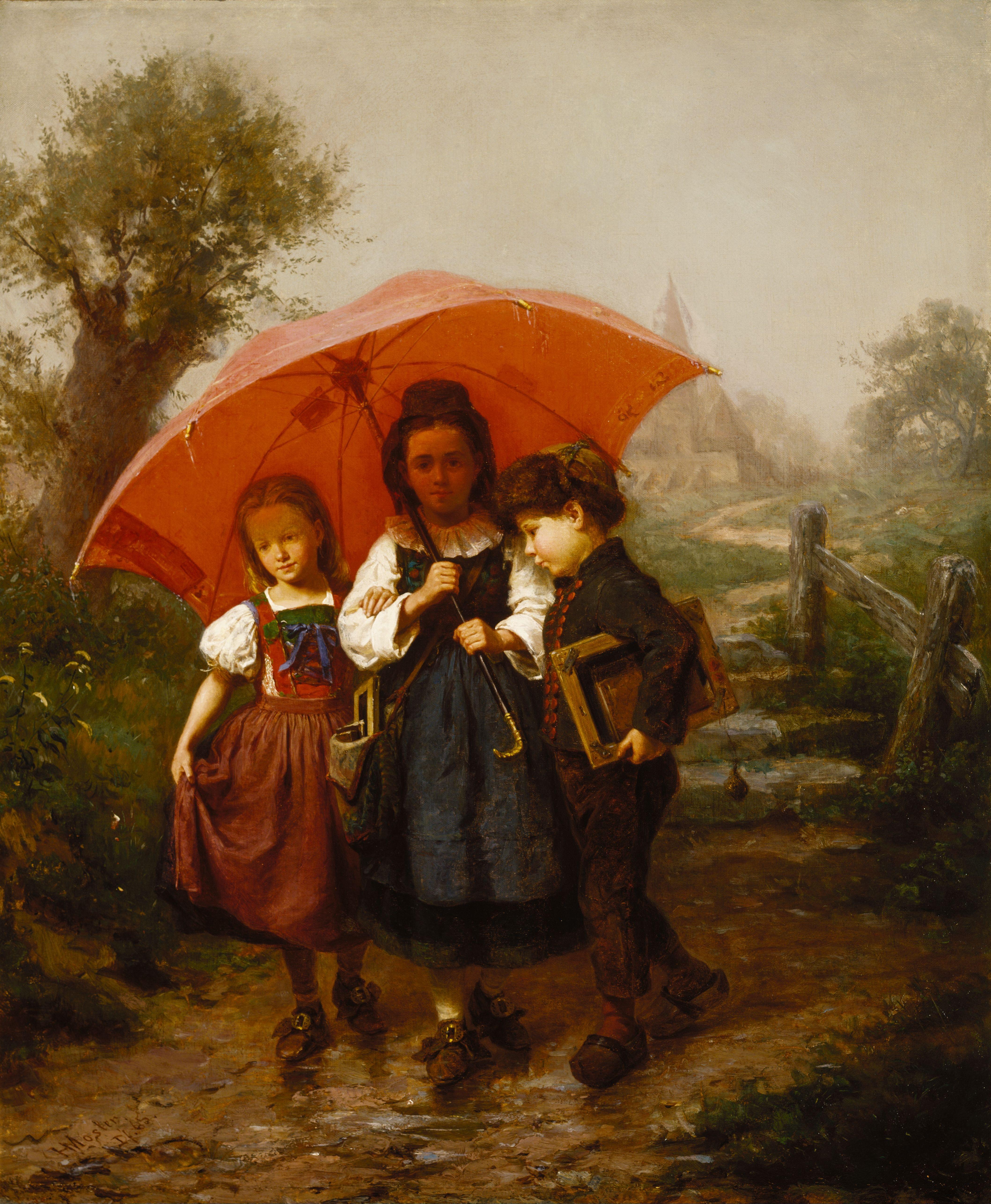 file henry mosler children under a red umbrella jpg wikimedia