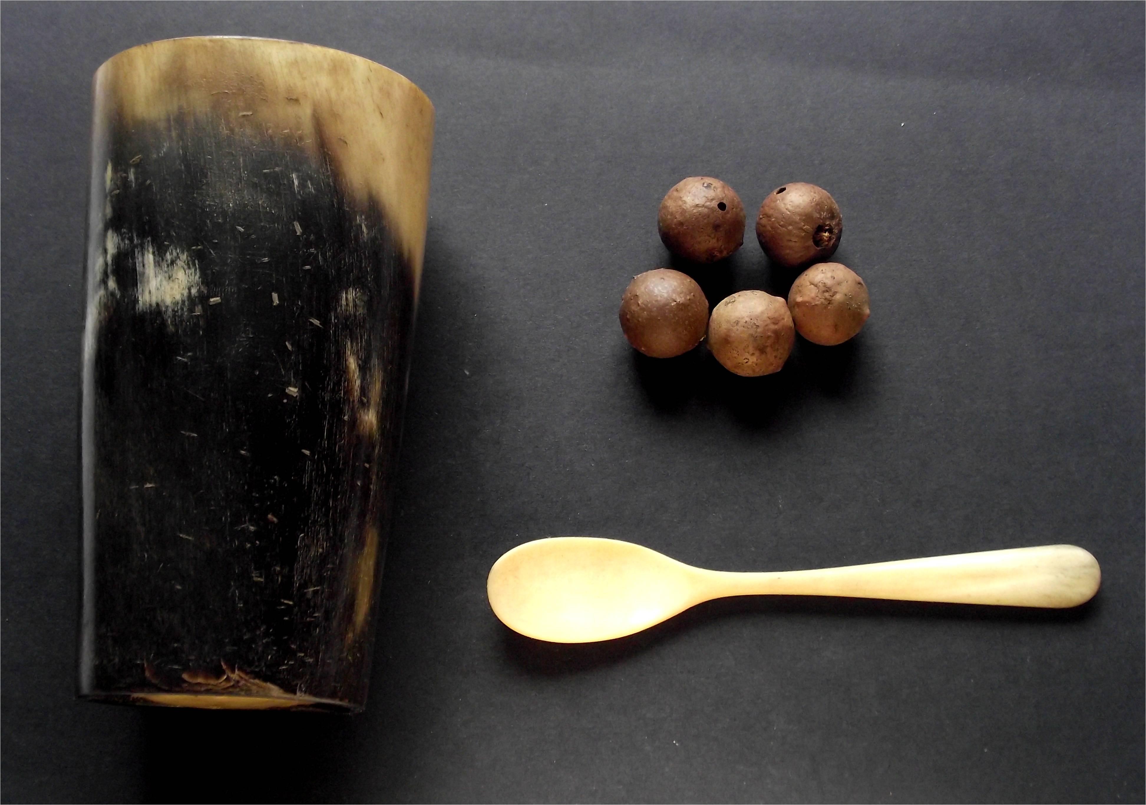 File:Horn Cup Beaker Oak Apple Gauls Bone Spoon jpg
