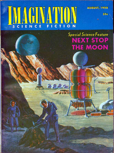Space exploration as predicted in August 1958 in the science fiction magazine Imagination. Imagination 195808.jpg
