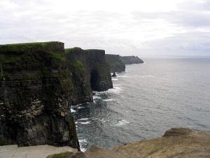 Layers of siltstone, shale and sandstone can be seen in the Cliffs of Moher, near Doolin in County Clare