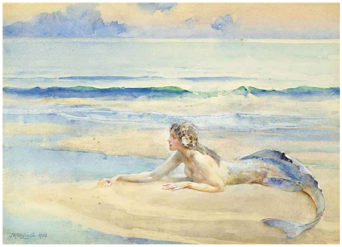 An image of a watercolour painting of a mermaid.