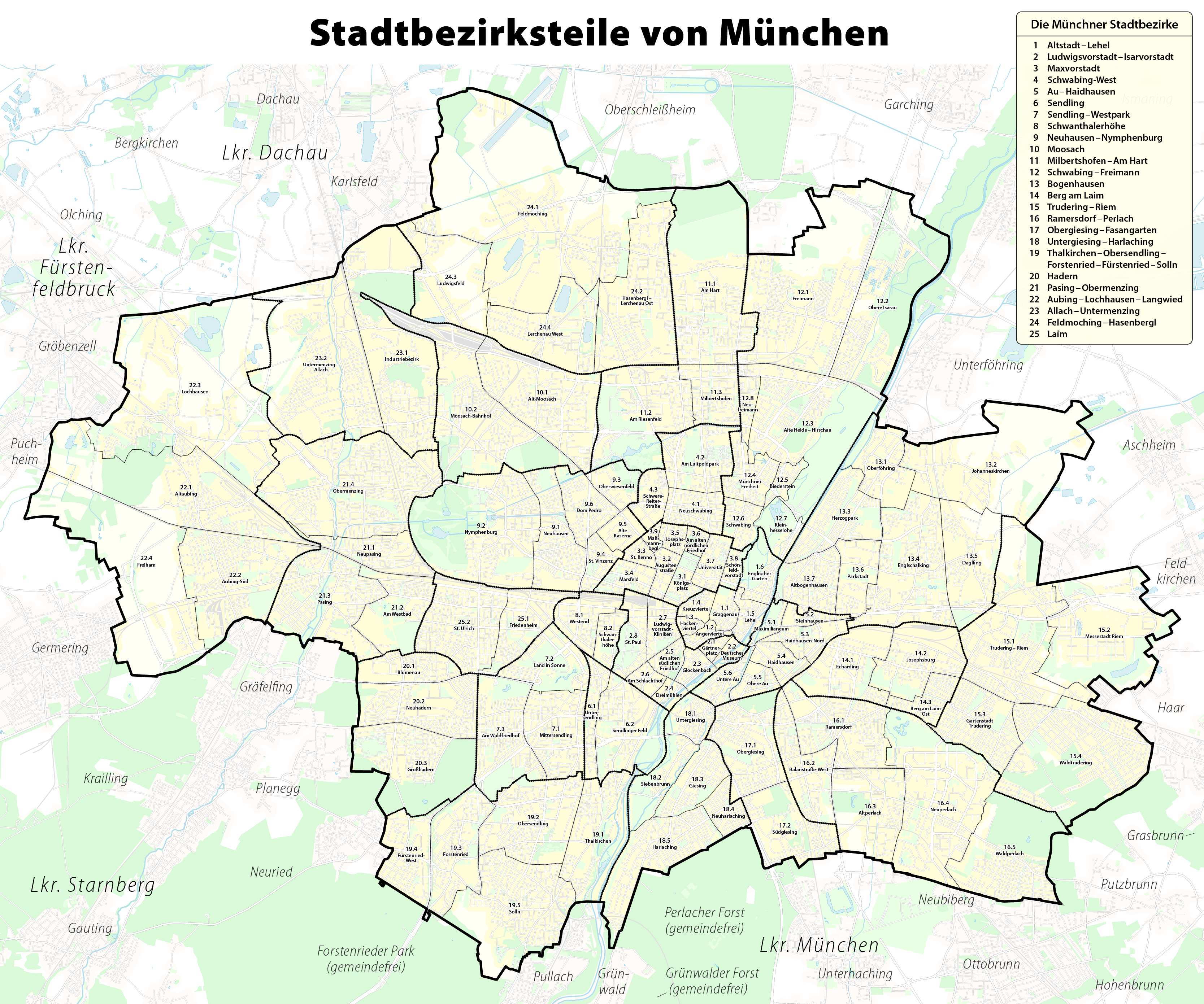 File Karte Der Stadtbezirksteile In Munchen Png Wikimedia Commons