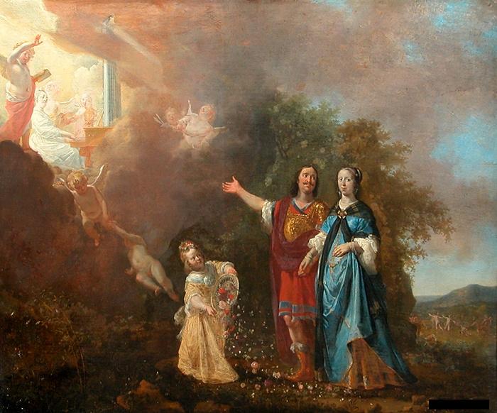 Portrait allégorique d'un couple avec joueuse d'orgue (sainte Cécile?)