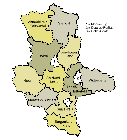 Map of Saxony-Anhalt showing the district boundaries