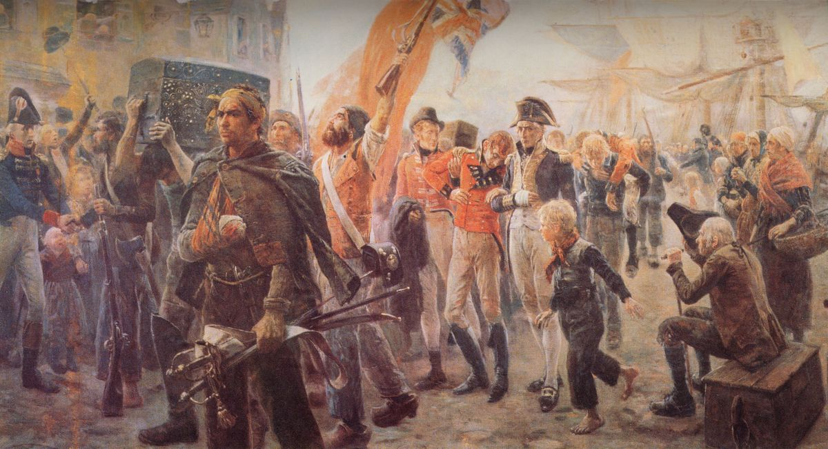 Painting depicting French corsairs with their British prisoners.