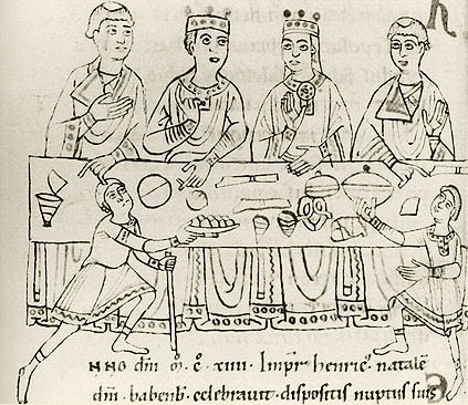 12th-century depiction of Matilda and Henry's wedding feast Matilda jidnrichInem.jpg