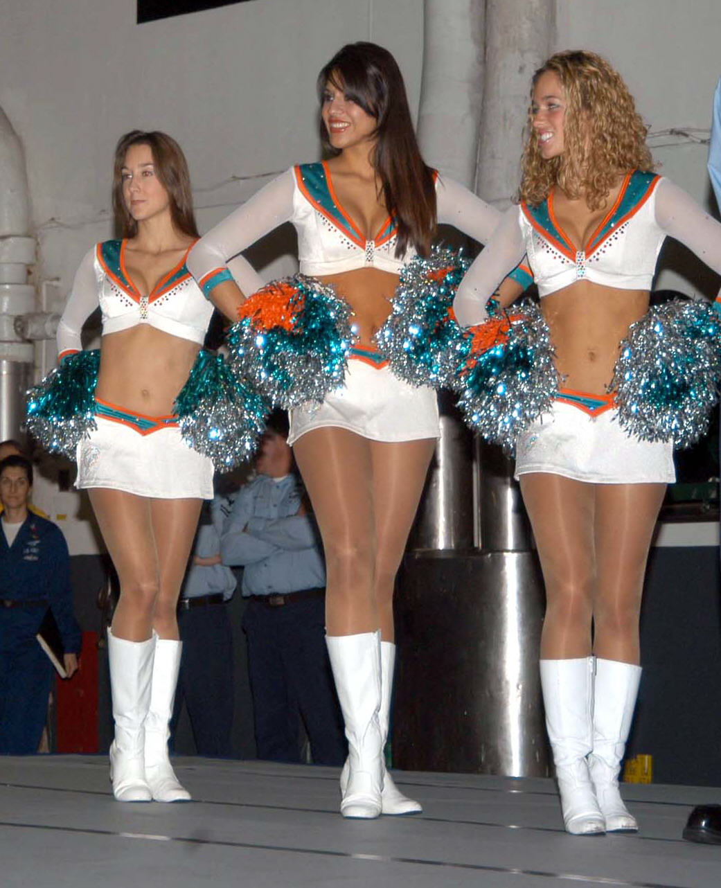 3 Miami Dolphins Cheerleaders In Beautiful Hosiery!