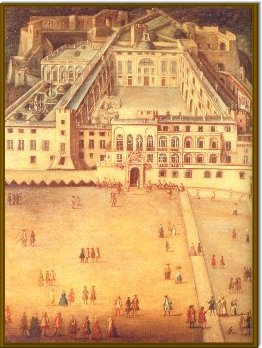 Illustration 9:This painting by Joseph Bresson shows the palace in 1762, viewed from a similar angle to the drawing above. The alterations made by Honoré II are clearly visible, as is the horseshoe staircase of Prince Louis I. The cupola surmounting the new chapel is at the rear of the courtyard.