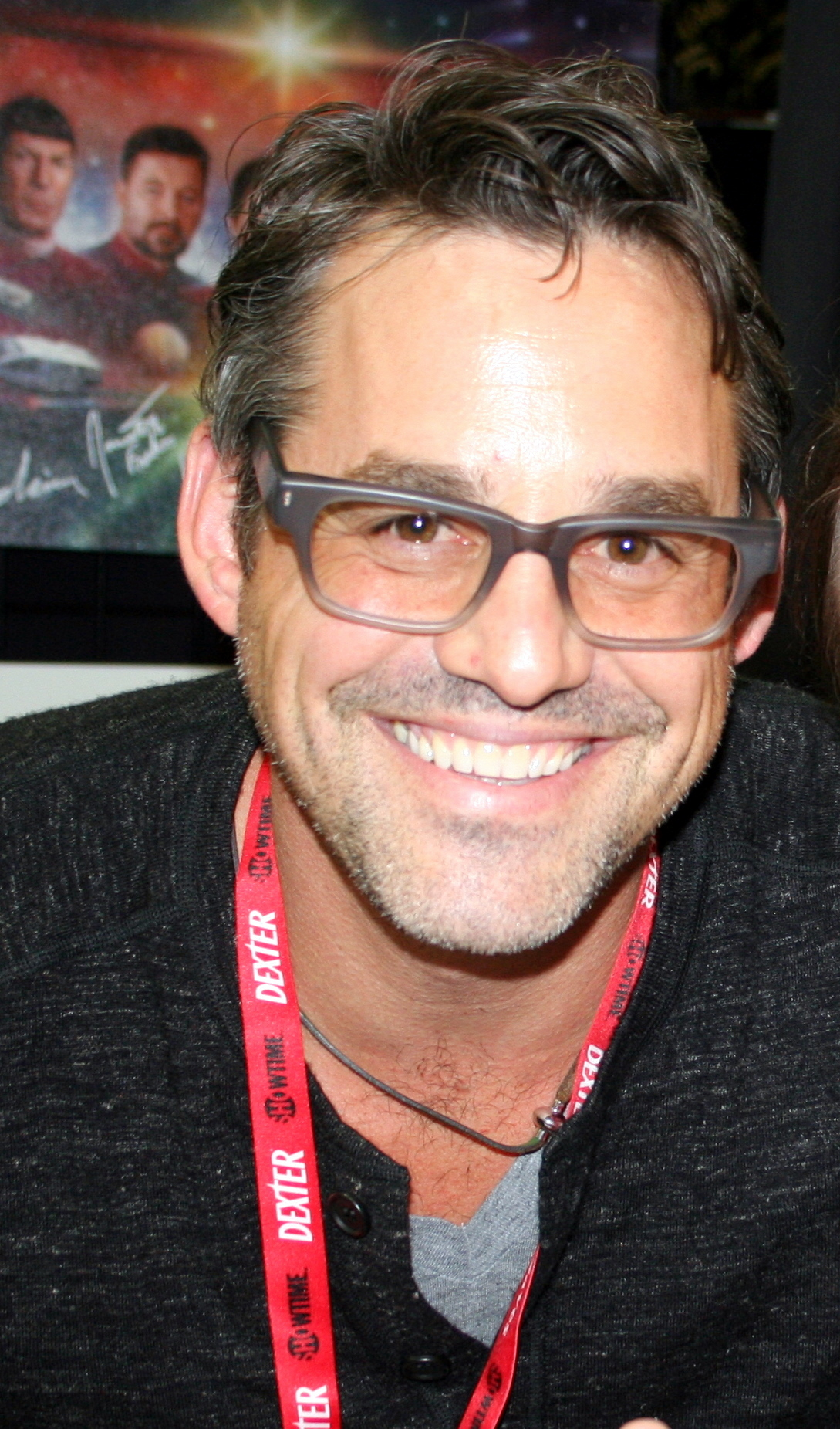 The 46-year old son of father (?) and mother(?), 178 cm tall Nicholas Brendon in 2017 photo