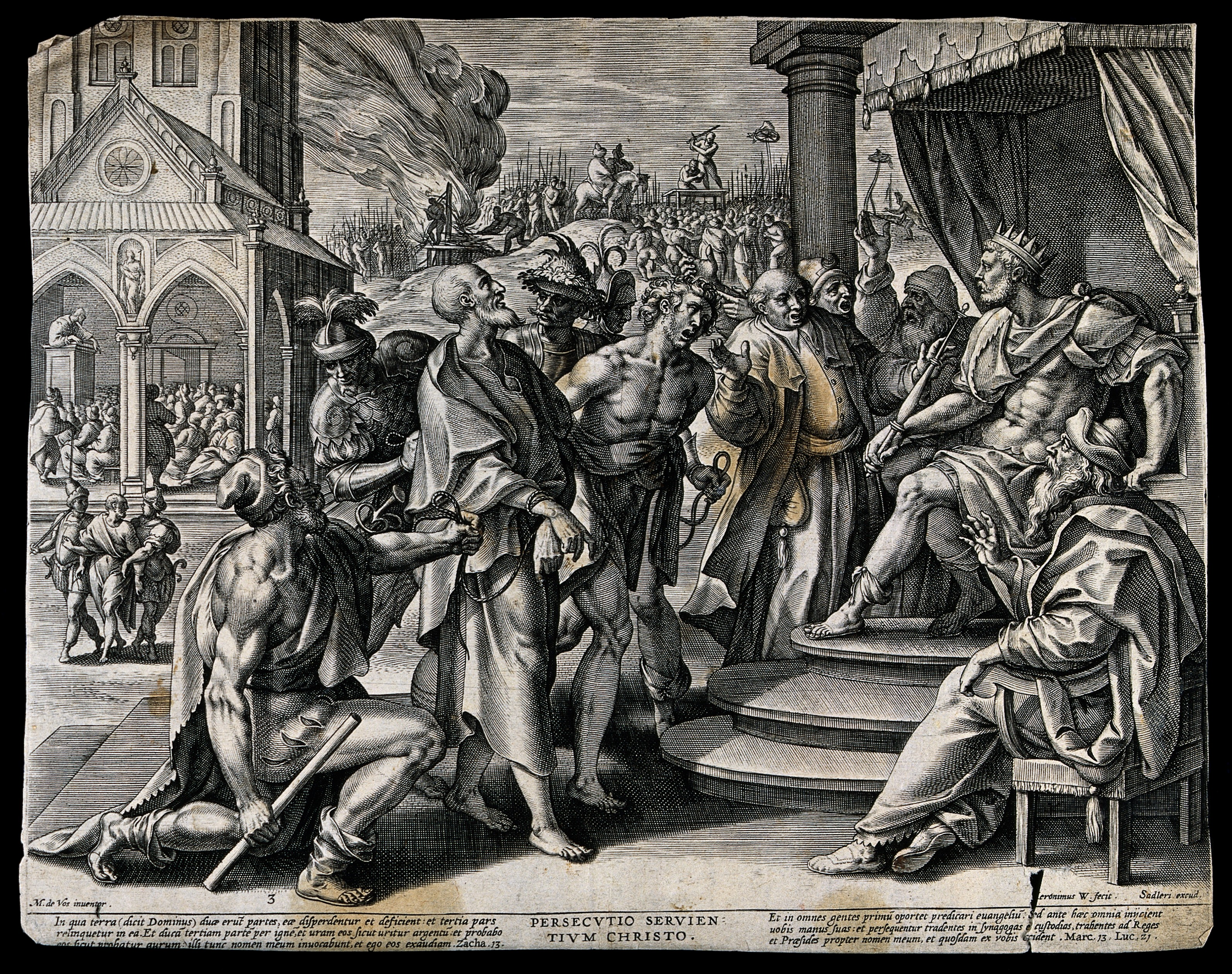 File:Persecution of Christians with scenes of martyrdom behind. E Wellcome  V0033268.jpg - Wikimedia Commons