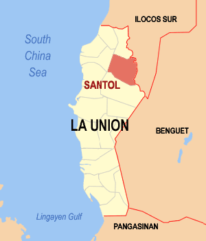 Map of La Union showing the location of Santol