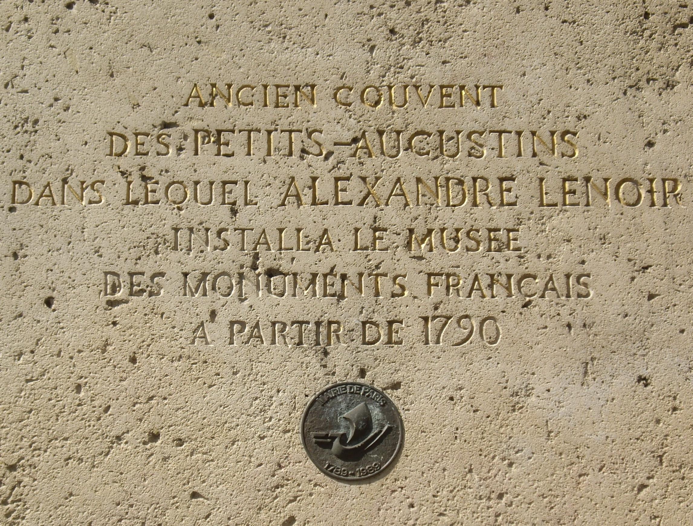 File plaque alexandre lenoir 14 rue bonaparte paris wikimedia commons - Rue bonaparte paris 6 ...