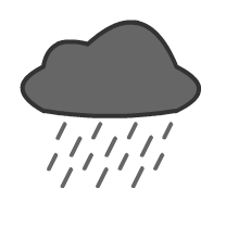 English: cloud and rain, weather forecast symbol